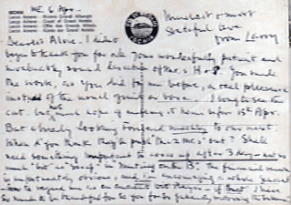 Letter to Alvin from Laurence Olivier